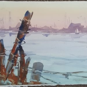 Sea scene watercolor original
